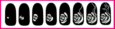 Поэтапно рисуем розу на ногтях