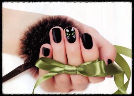 """маникюр в черном цвете """"Черная кошка"""""""