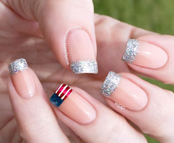 Flag-French-Manicure