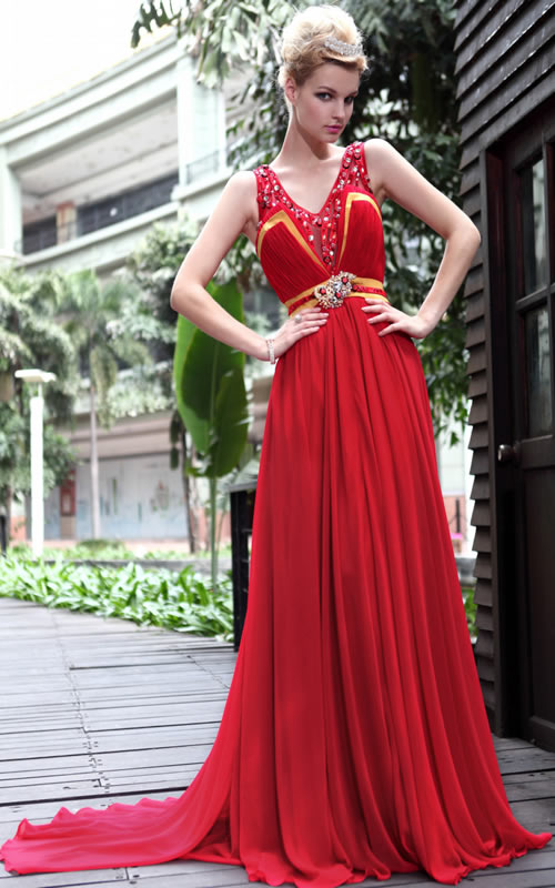 Awesome Pure Red Color Long Prom Dress 2014