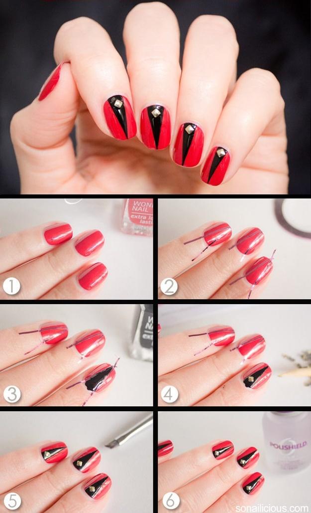 как сделать простые рисунки на ногтяях пошагово