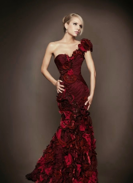 Beautiful Maroon Flower Long Prom Dresses 2014
