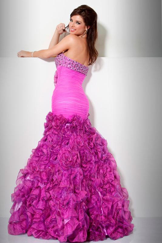 Beautiful Dark Pink Flowers Long Prom Dresses 2014